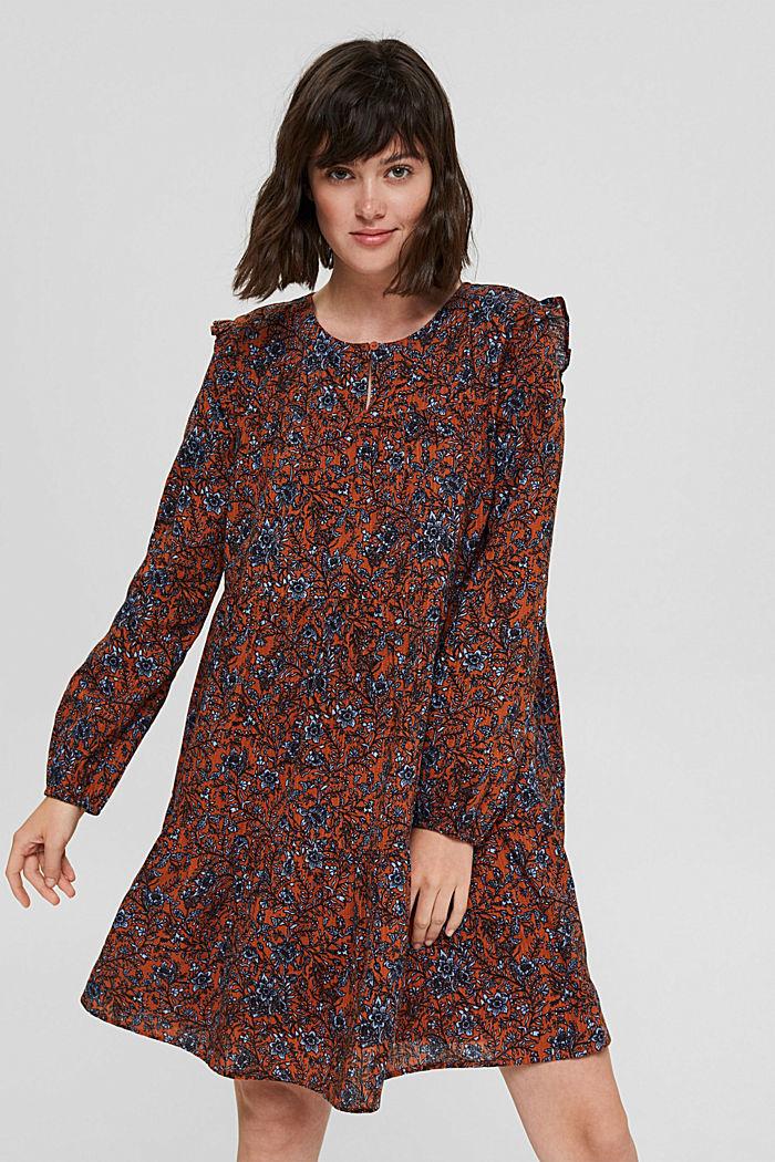 Frilled print dress made of 100% cotton, RUST ORANGE, detail image number 0