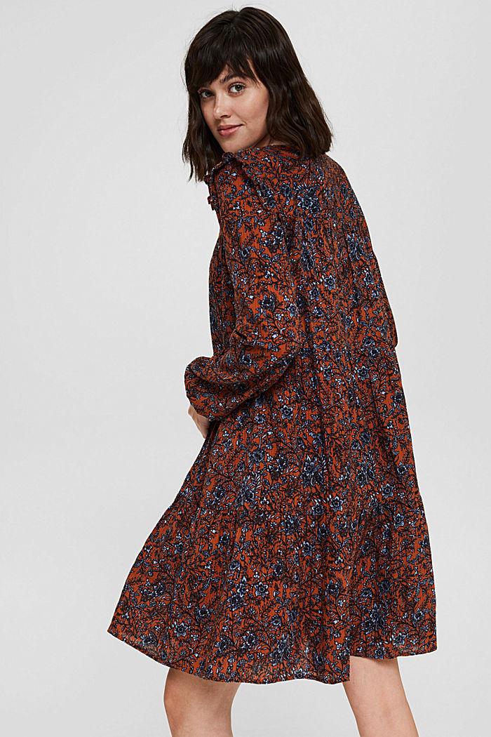 Frilled print dress made of 100% cotton, RUST ORANGE, detail image number 2