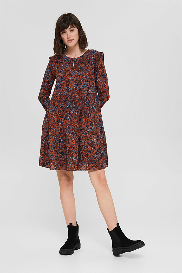 Frilled print dress made of 100% cotton, RUST ORANGE, detail image number 1