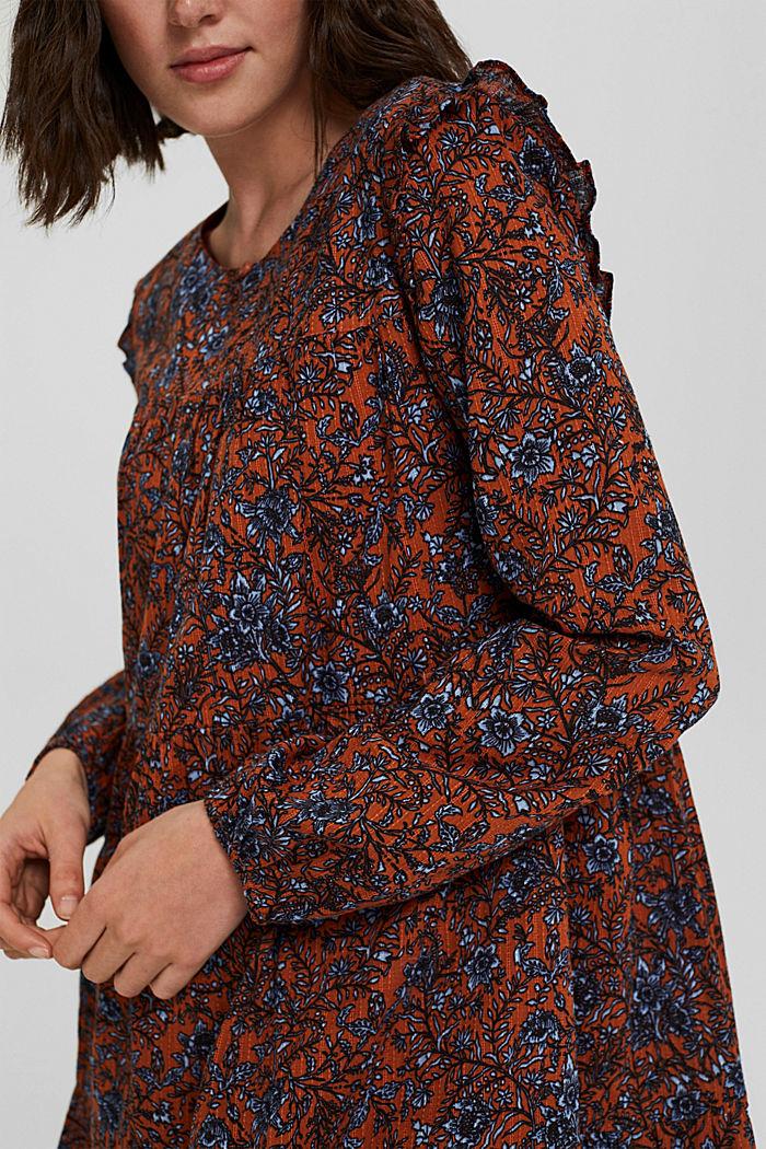 Frilled print dress made of 100% cotton, RUST ORANGE, detail image number 3