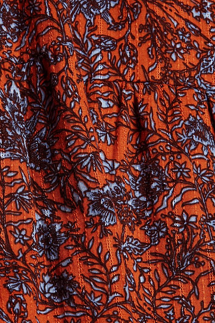 Frilled print dress made of 100% cotton, RUST ORANGE, detail image number 4