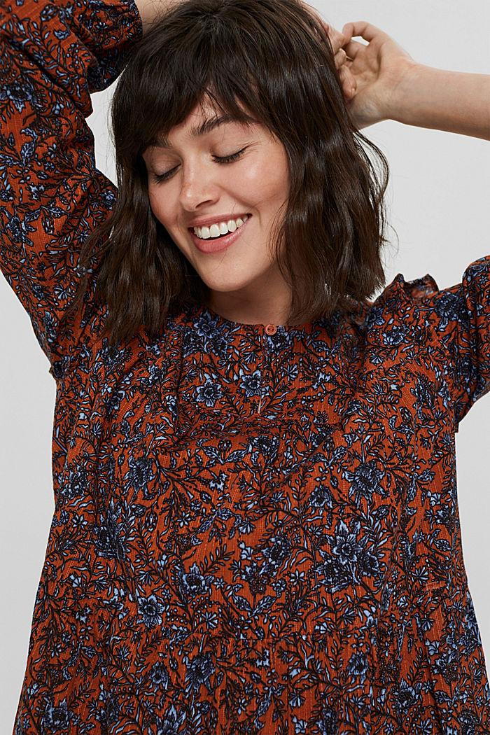 Print-Kleid mit Rüschen aus 100% Baumwolle