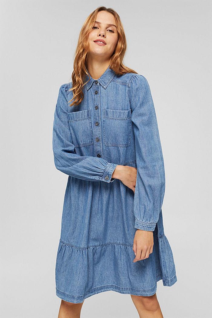 Robe chemisier en jean, en coton, BLUE MEDIUM WASHED, detail image number 0