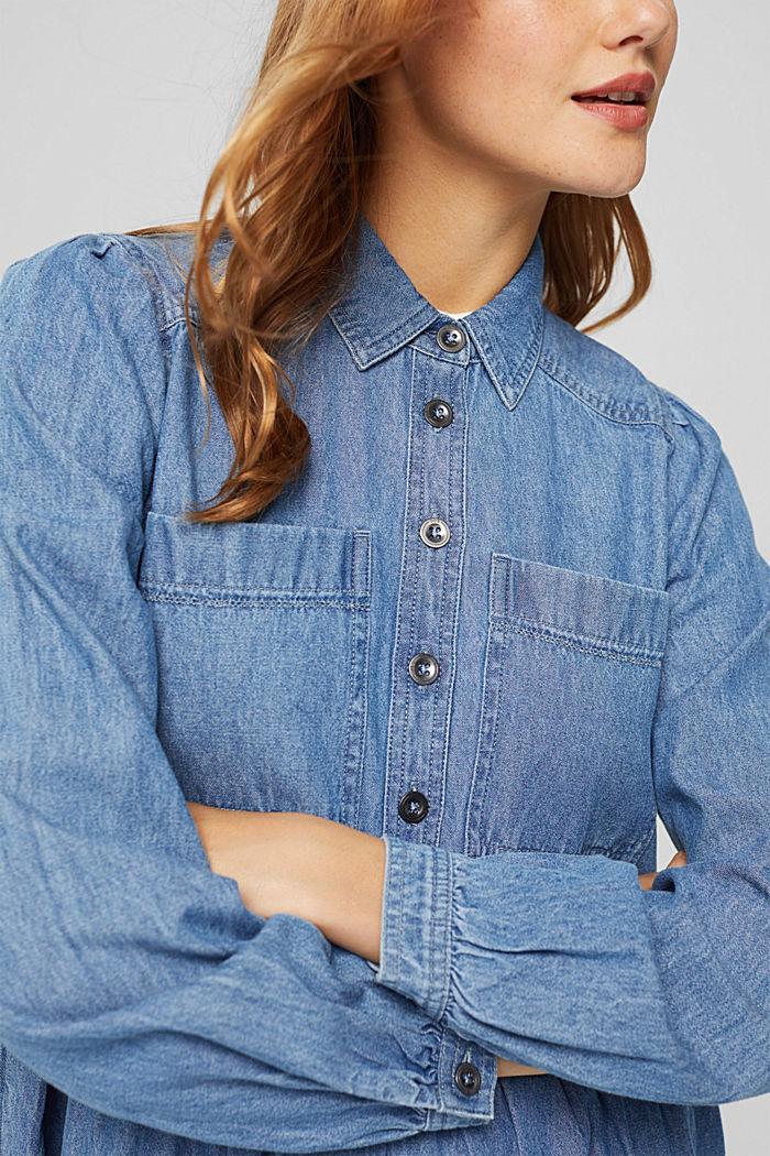 Robe chemisier en jean, en coton, BLUE MEDIUM WASHED, detail image number 3