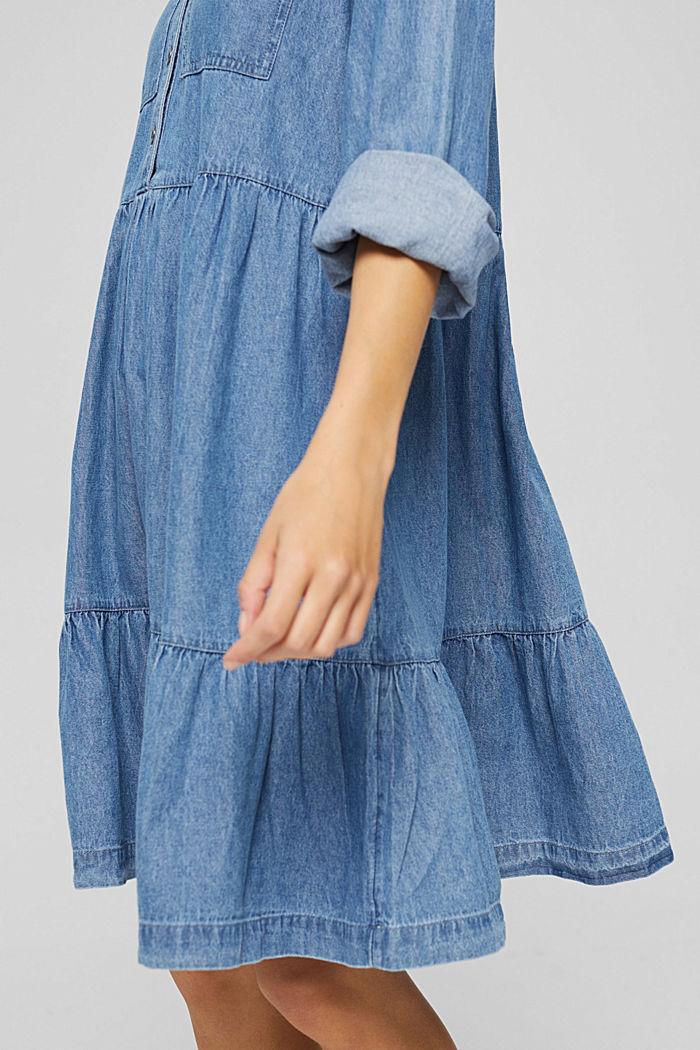 Robe chemisier en jean, en coton, BLUE MEDIUM WASHED, detail image number 6