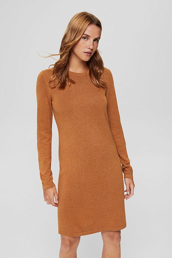Gebreide basic jurk van een mix met biologisch katoen, BARK, detail image number 0