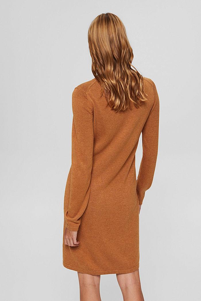 Gebreide basic jurk van een mix met biologisch katoen, BARK, detail image number 2