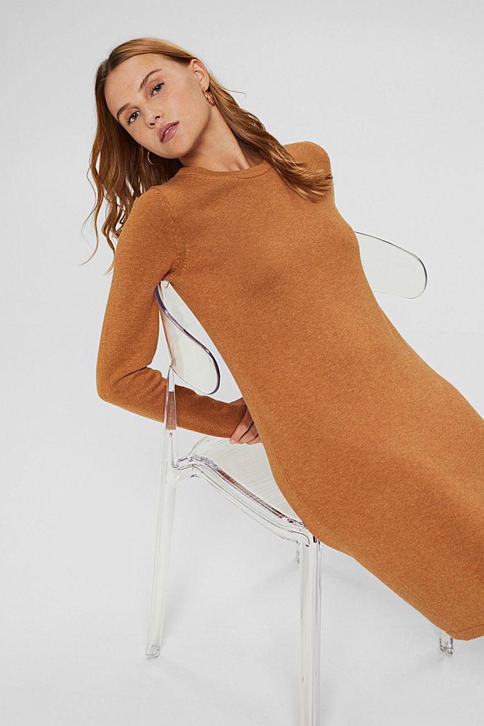 Gebreide basic jurk van een mix met biologisch katoen, BARK, detail image number 5