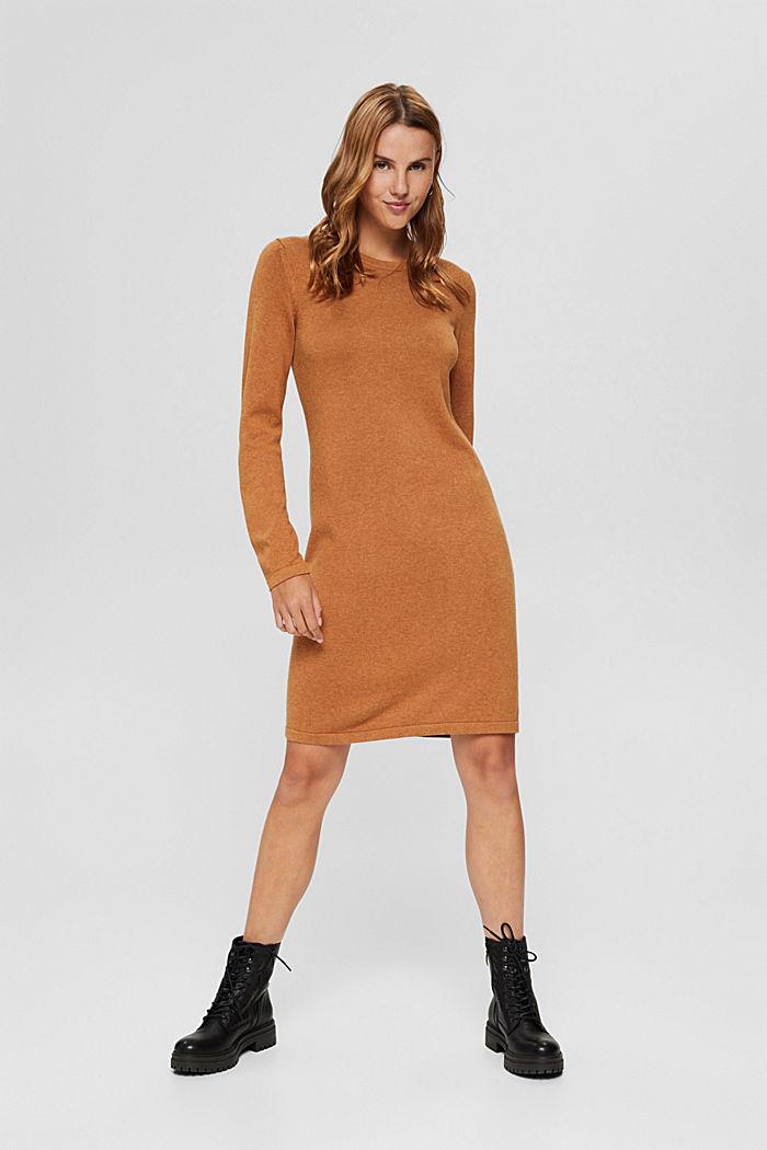 Gebreide basic jurk van een mix met biologisch katoen, BARK, detail image number 6