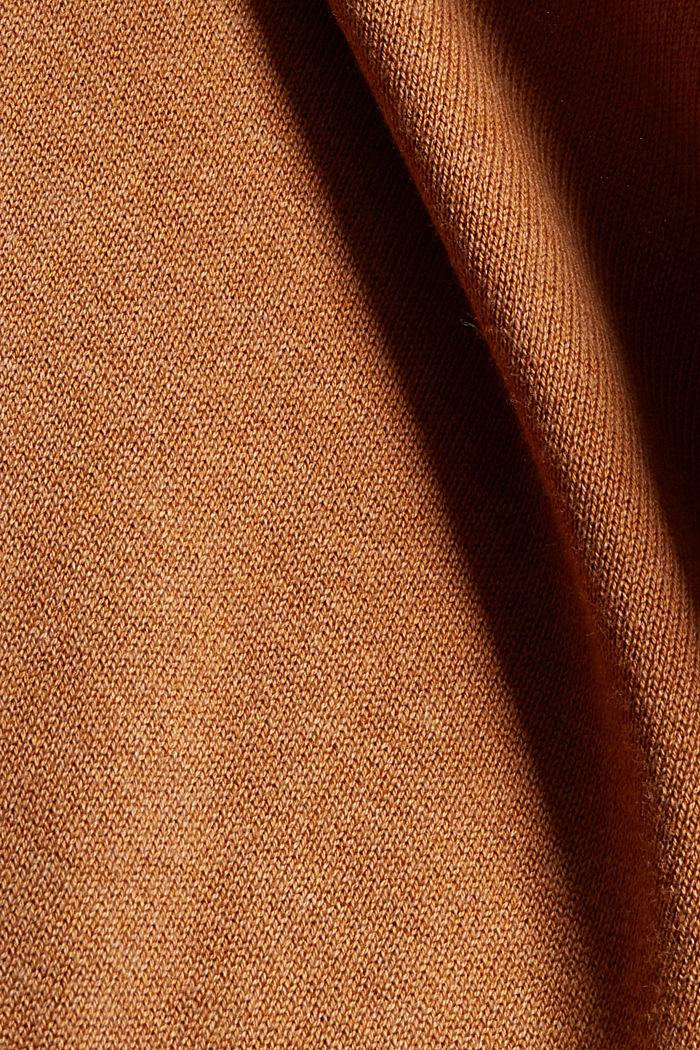 Gebreide basic jurk van een mix met biologisch katoen, BARK, detail image number 4