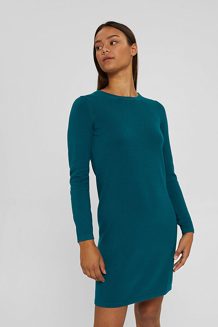 Basic knitted dress in an organic cotton blend, EMERALD GREEN, detail image number 0