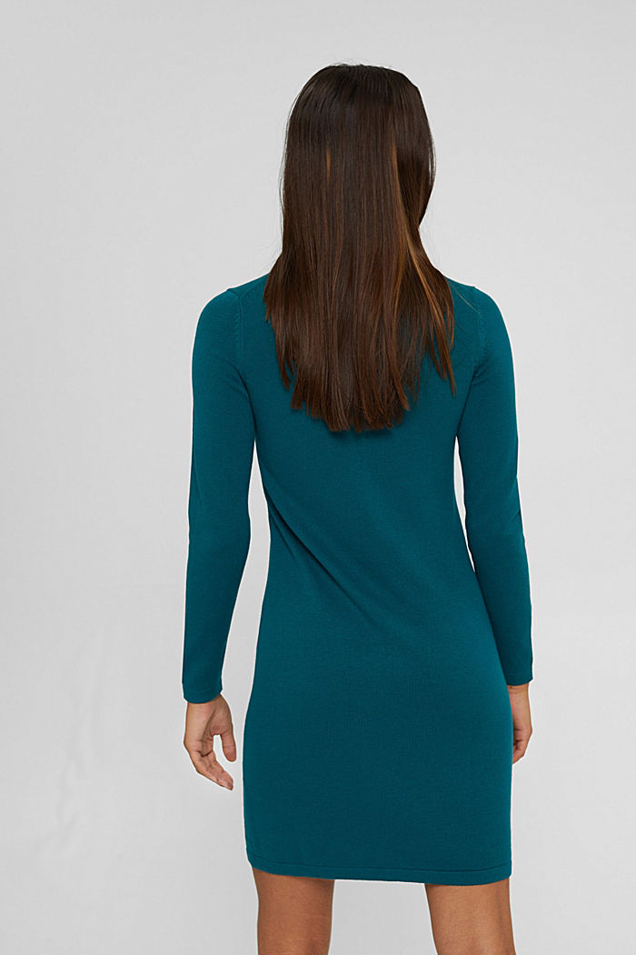 Basic knitted dress in an organic cotton blend, EMERALD GREEN, detail image number 2