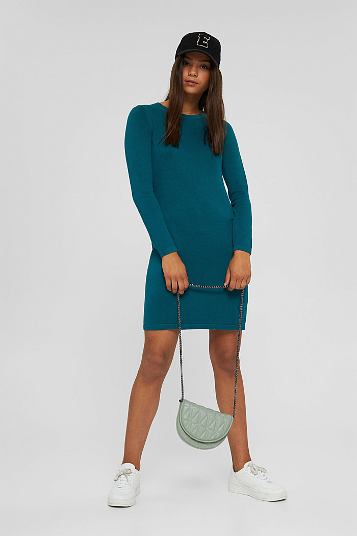 Basic knitted dress in an organic cotton blend, EMERALD GREEN, detail image number 1