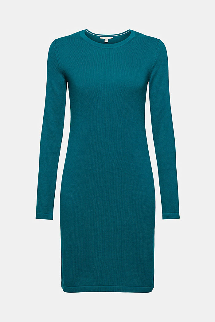Basic knitted dress in an organic cotton blend, EMERALD GREEN, detail image number 5