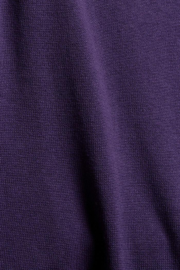 Robe-pull basique en coton bio mélangé, DARK PURPLE, detail image number 4