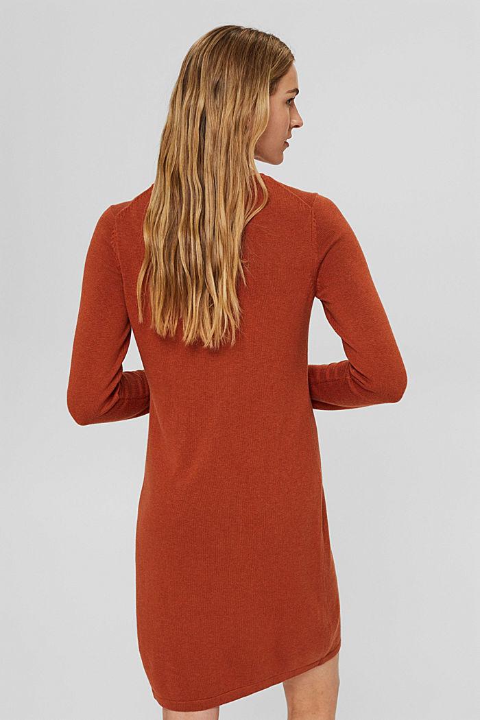 Gebreide basic jurk van een mix met biologisch katoen, RUST ORANGE, detail image number 2