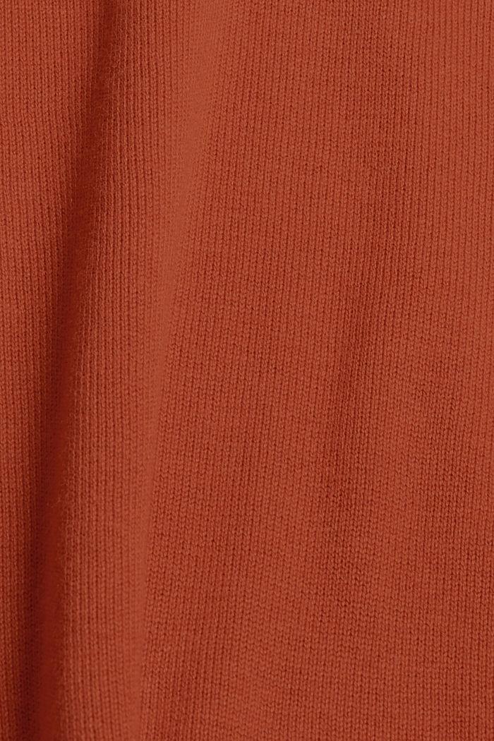 Gebreide basic jurk van een mix met biologisch katoen, RUST ORANGE, detail image number 4
