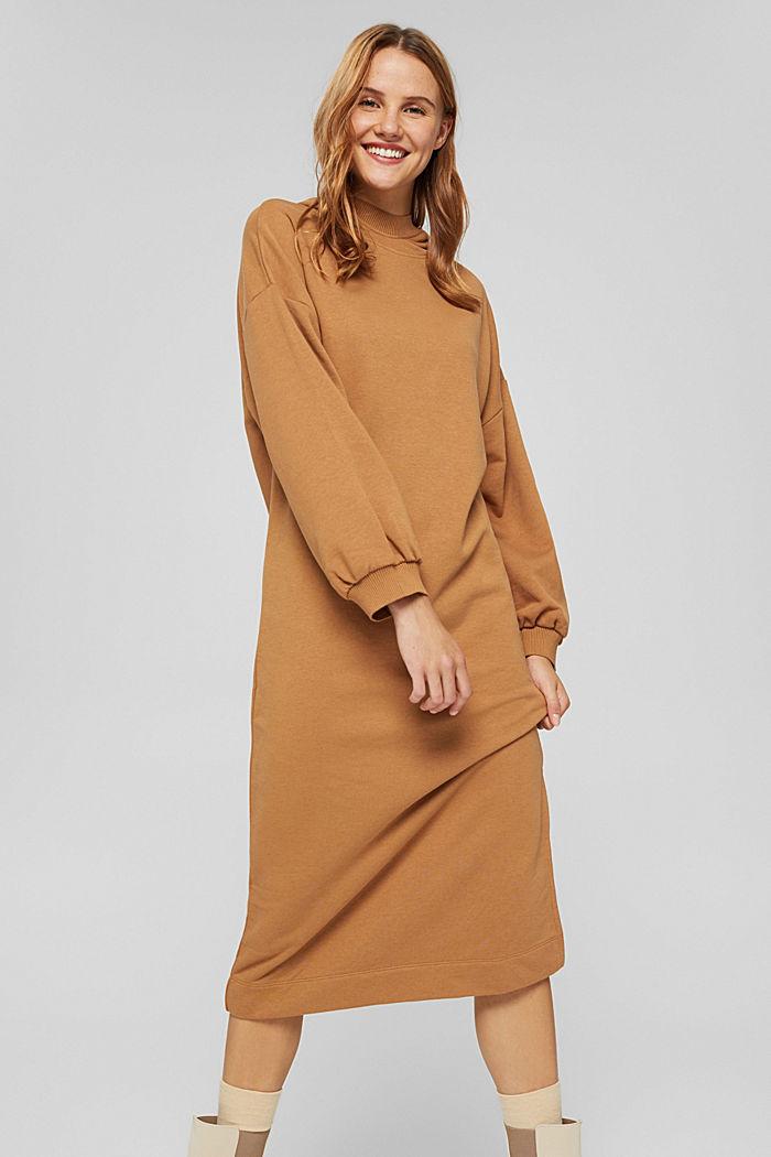 Hooded sweatshirt dress in an organic cotton blend, BARK, detail image number 0