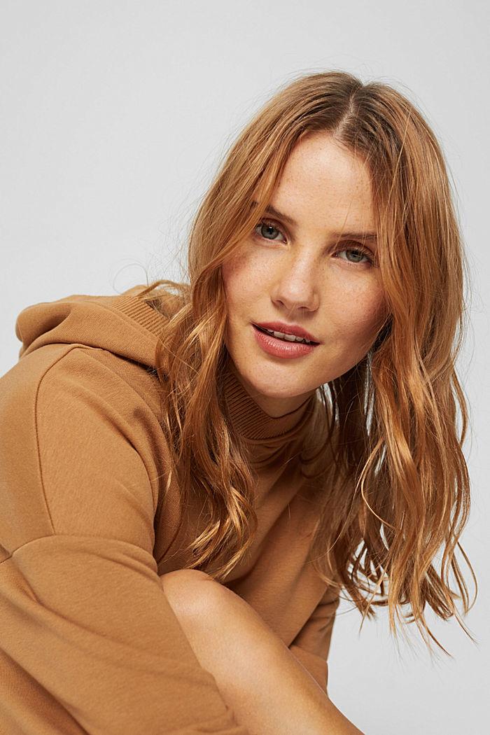 Hooded sweatshirt dress in an organic cotton blend, BARK, detail image number 6