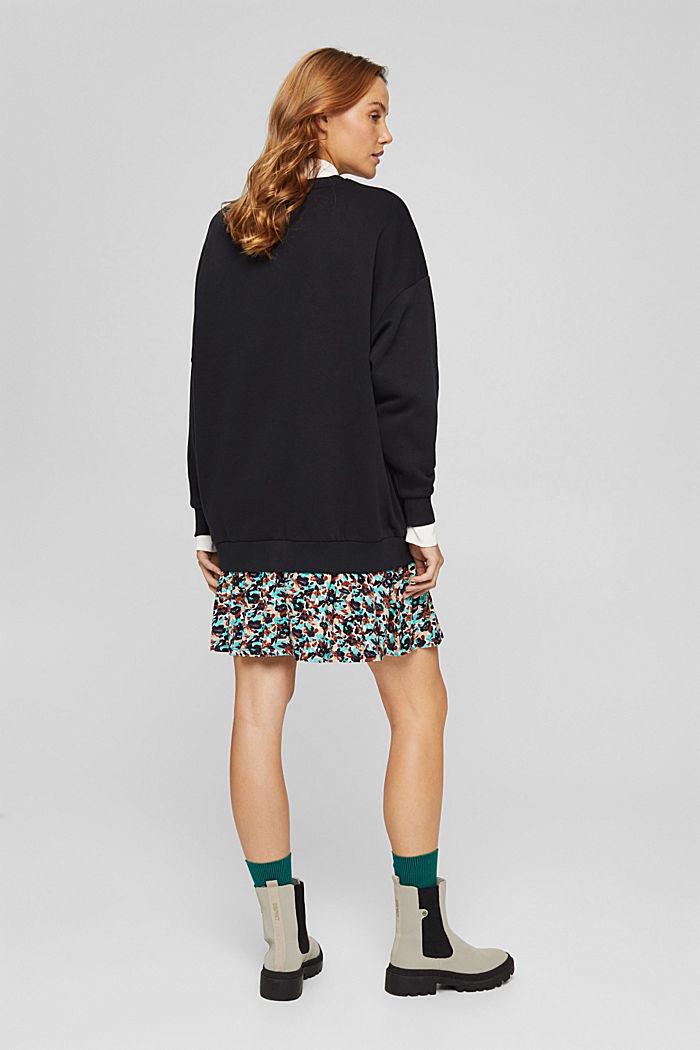 Mini-Sweatshirt-Kleid mit floralem Jersey, BLACK, detail image number 2