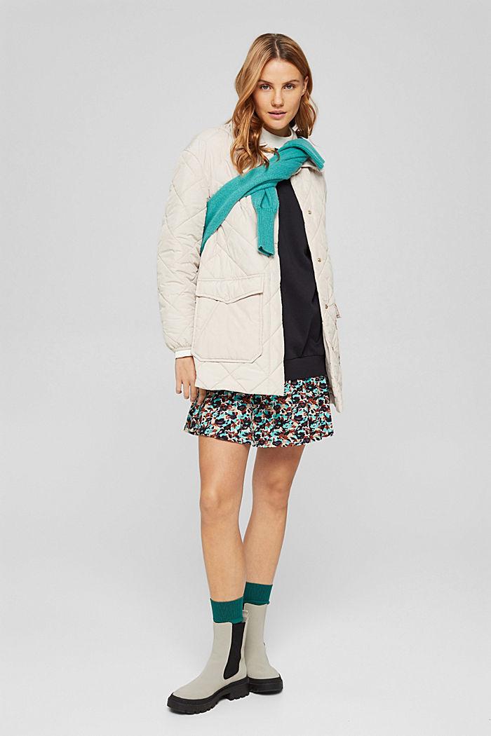 Mini-Sweatshirt-Kleid mit floralem Jersey, BLACK, detail image number 1