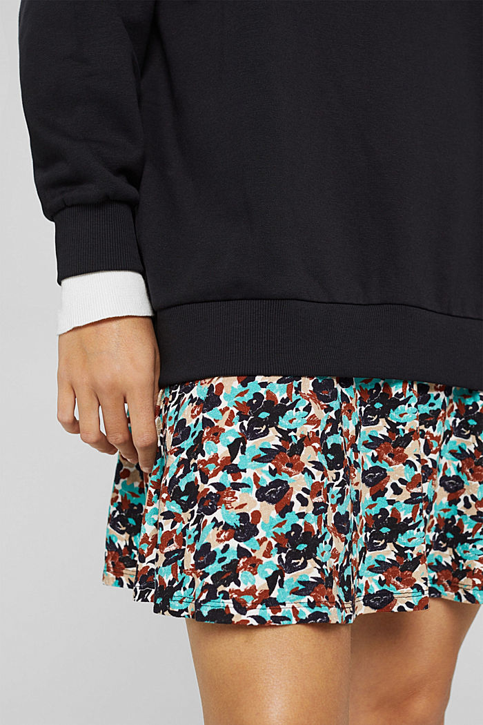 Mini-Sweatshirt-Kleid mit floralem Jersey, BLACK, detail image number 3