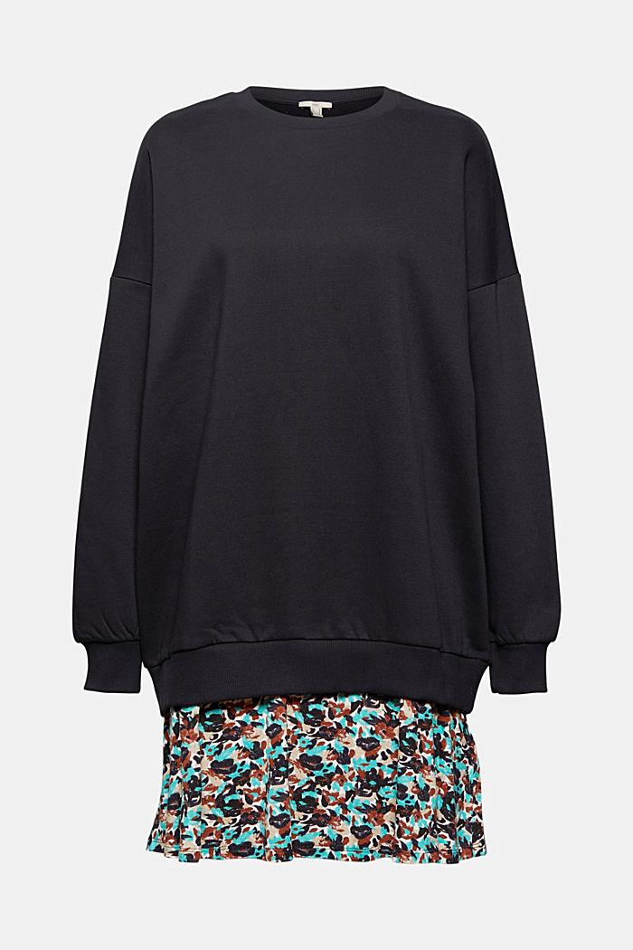 Mini-Sweatshirt-Kleid mit floralem Jersey