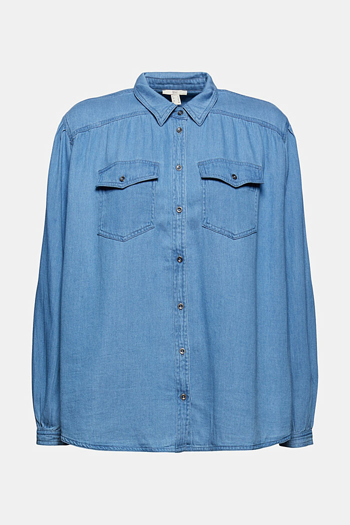 Overhemdblouse van 100% katoen met denim look