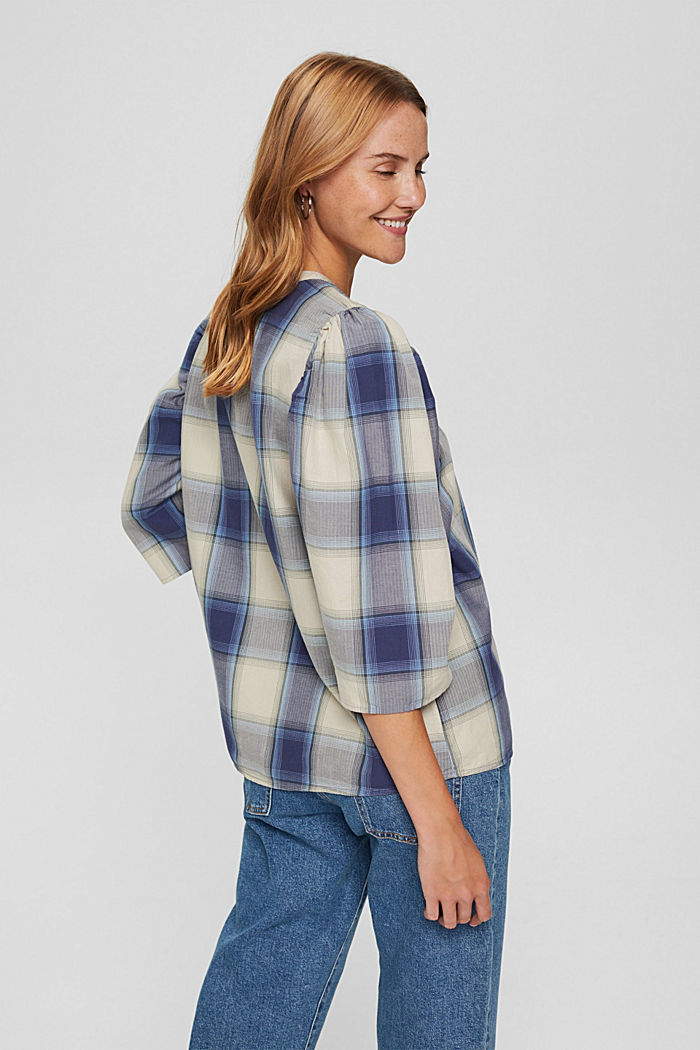 Checked blouse with balloon sleeves, 100% cotton, NAVY , detail image number 3