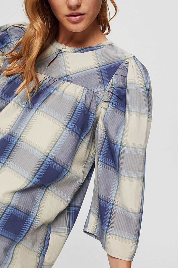 Checked blouse with balloon sleeves, 100% cotton, NAVY , detail image number 2