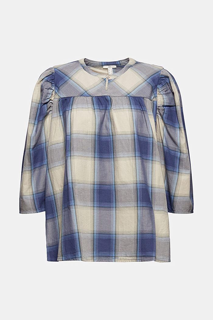Blusa a quadri con maniche a palloncino, 100% cotone