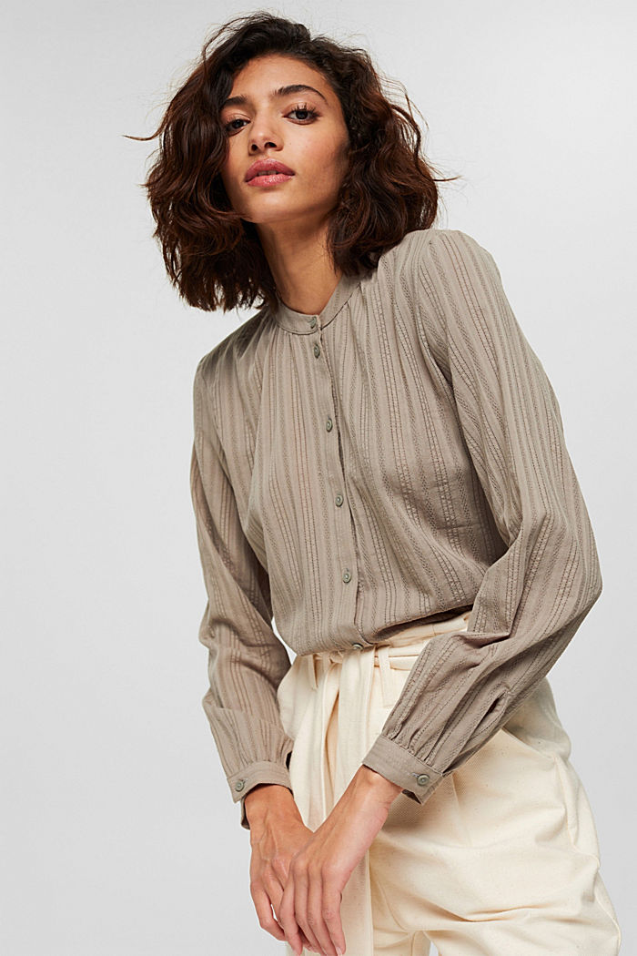 Blouse with semi-sheer texture, LIGHT KHAKI, detail image number 0