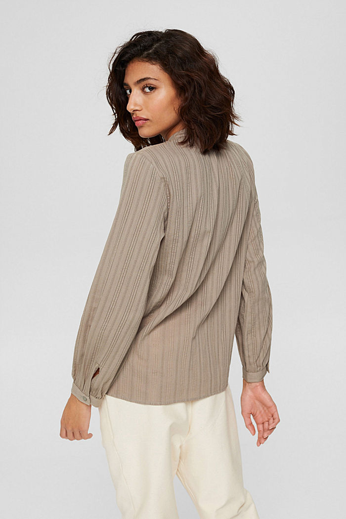 Blouse with semi-sheer texture, LIGHT KHAKI, detail image number 3