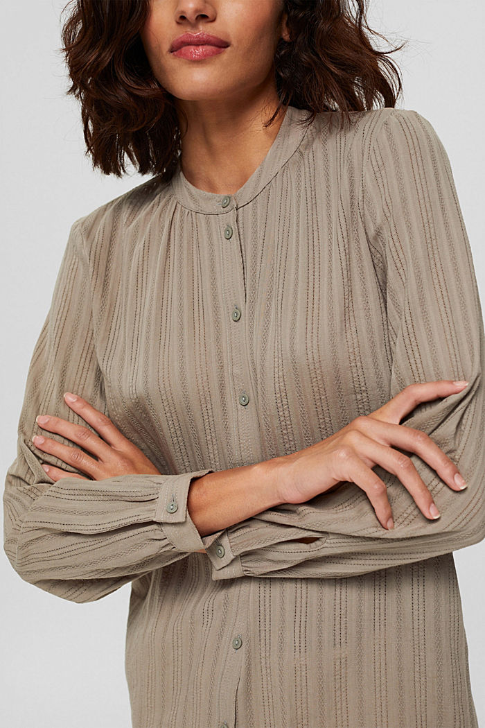 Blouse with semi-sheer texture, LIGHT KHAKI, detail image number 2
