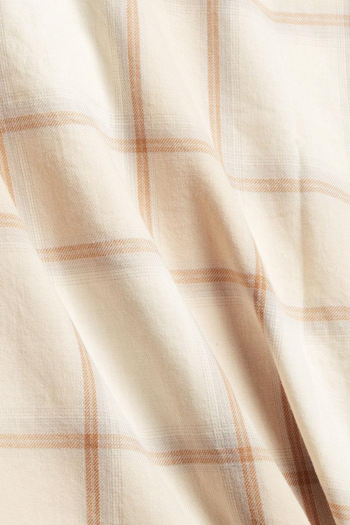 Chemisier à carreaux et manches retroussables, en coton biologique, OFF WHITE, detail image number 4