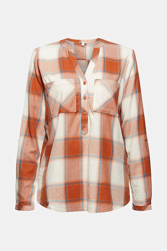 Geruite blouse met oprolbare mouwen, biologisch katoen