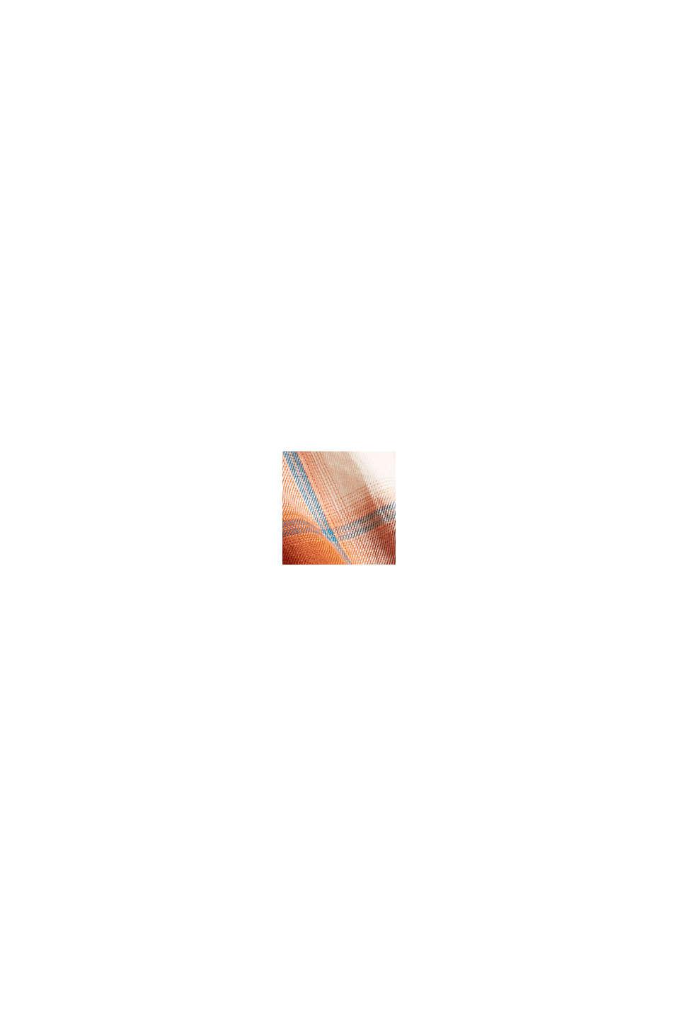 Geruite blouse met oprolbare mouwen, biologisch katoen, RUST ORANGE, swatch