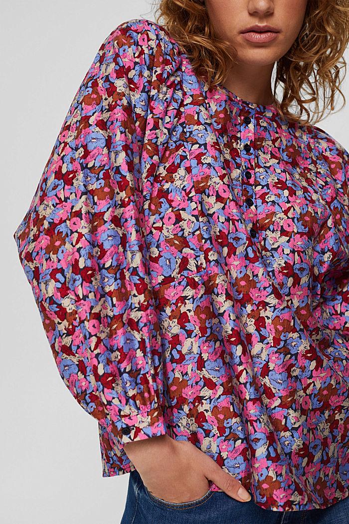 TENCEL™-Mix: Flower Bluse mit Statement-Ärmeln, NAVY, detail image number 2