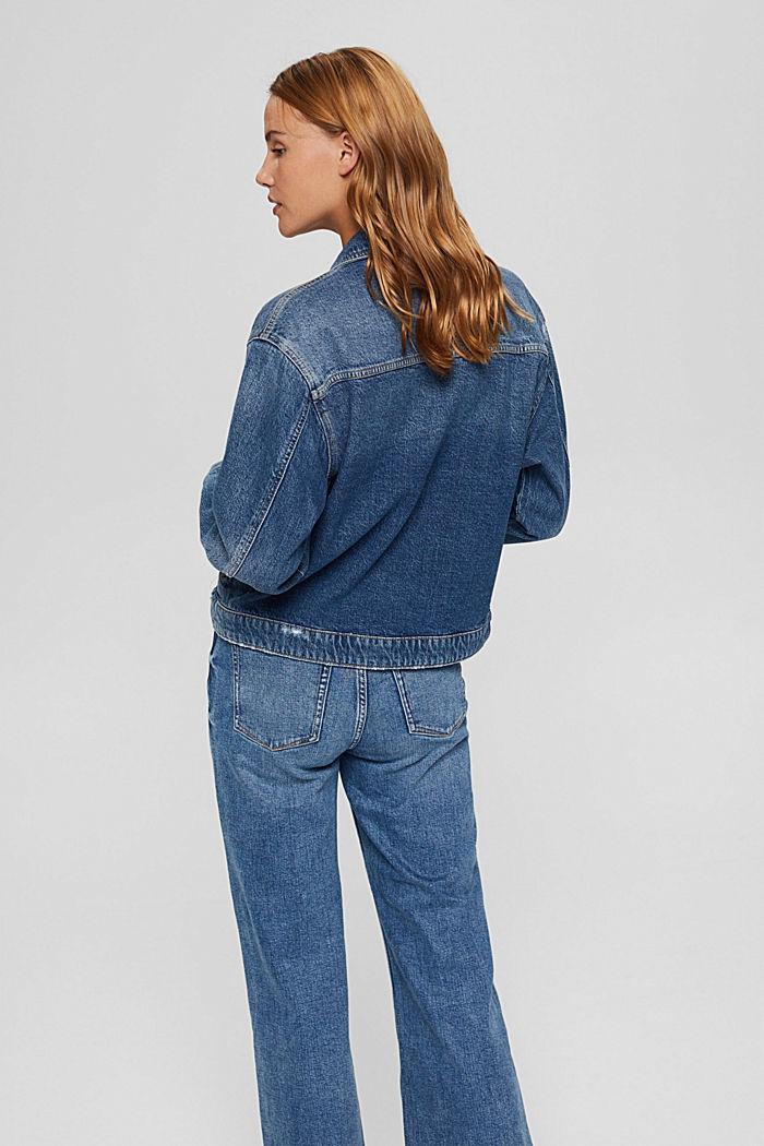 Oversize Jeansjacke aus Bio-Baumwoll-Mix, BLUE DARK WASHED, detail image number 3