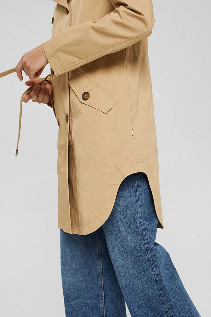 Trenchcoat mit neuem Look, 100% Baumwolle, BEIGE, detail image number 5