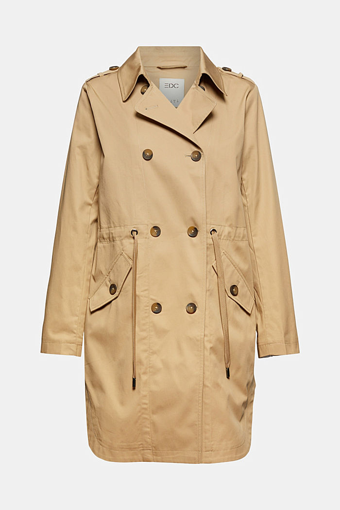 Trench coat with a new look, 100% cotton