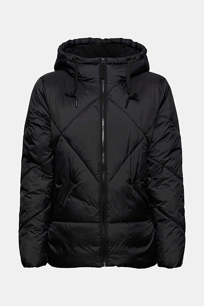 Gerecycled: gewatteerde jas met capuchon, BLACK, detail image number 6