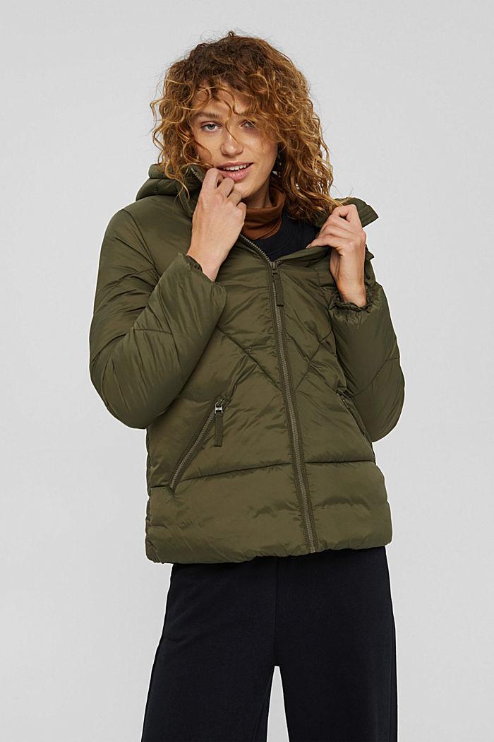 En matière recyclée: la veste à capuche matelassée, DARK KHAKI, detail image number 0