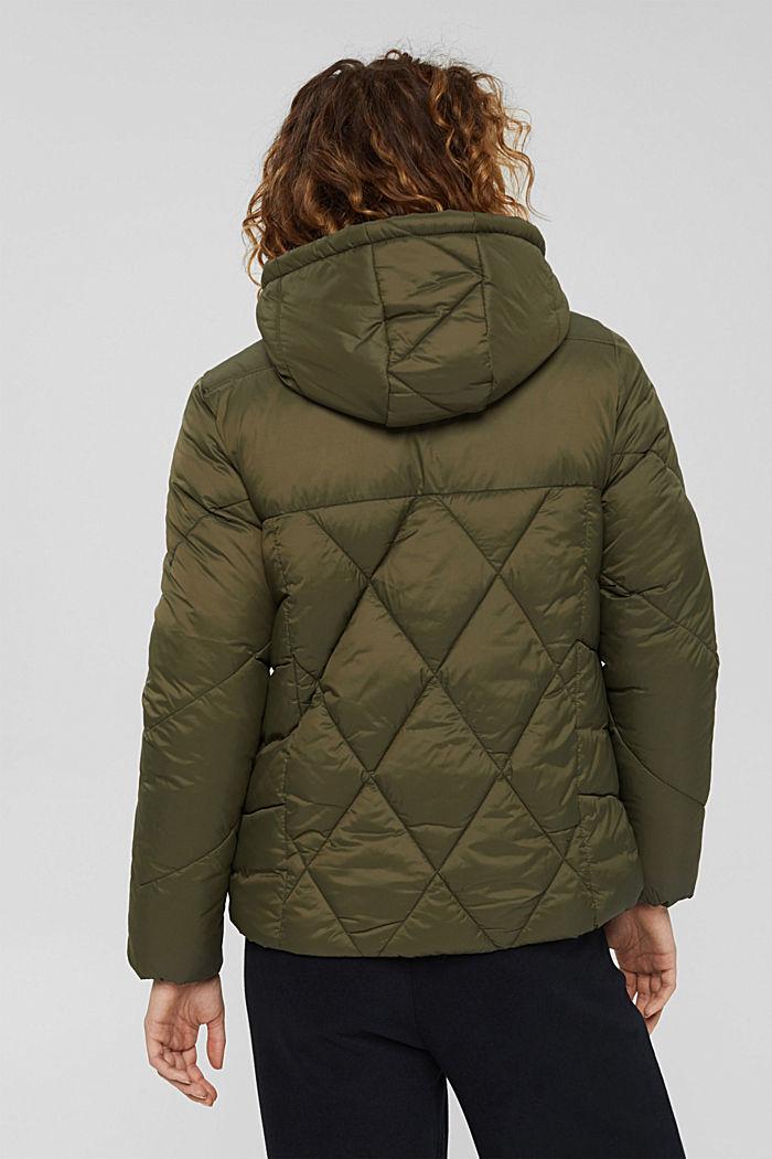 En matière recyclée: la veste à capuche matelassée, DARK KHAKI, detail image number 3