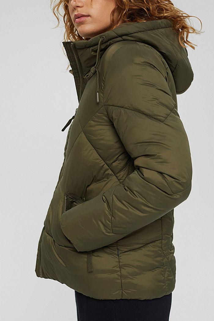En matière recyclée: la veste à capuche matelassée, DARK KHAKI, detail image number 2