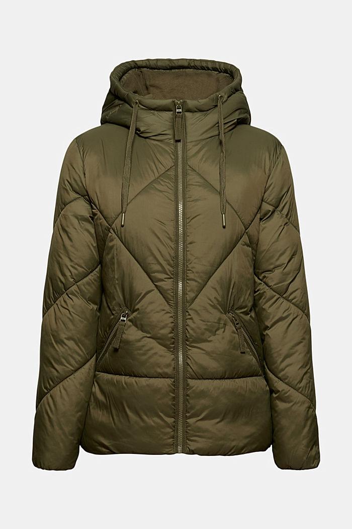 En matière recyclée: la veste à capuche matelassée