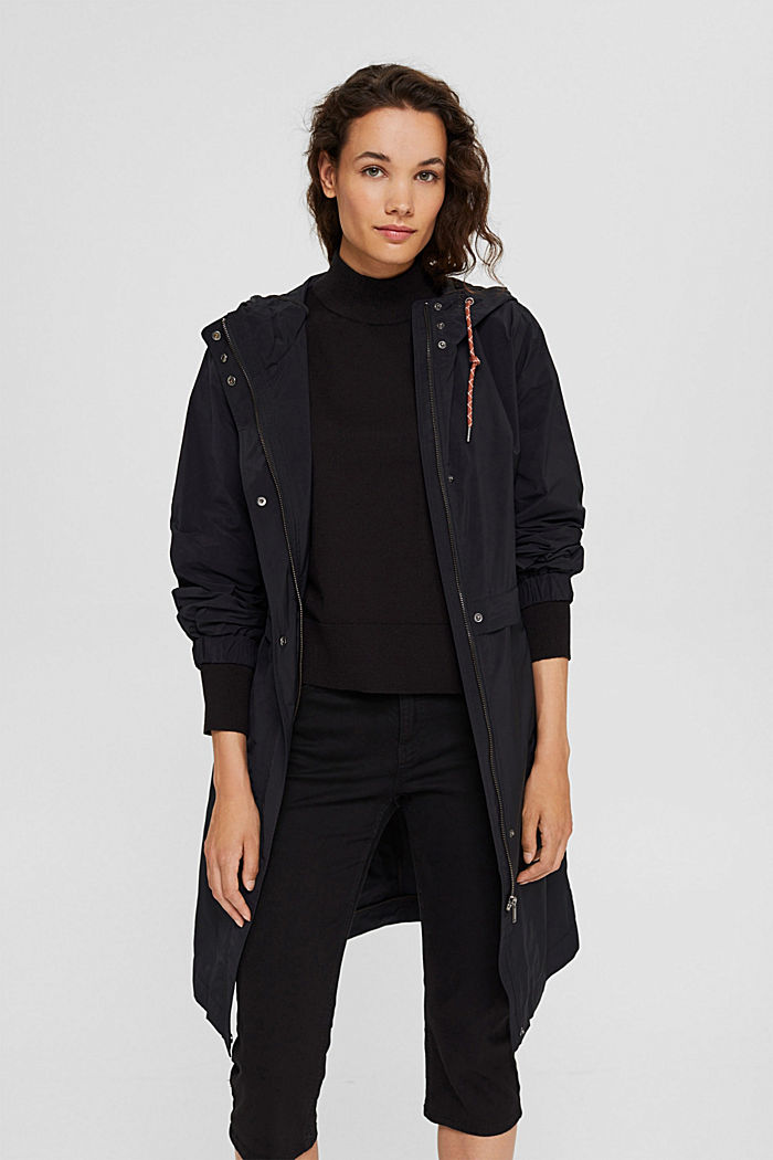 Lightweight coat with detachable fleece inlay, BLACK, detail image number 0
