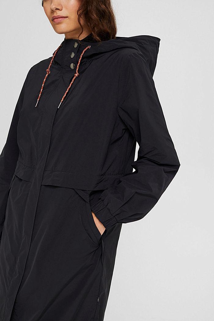Lightweight coat with detachable fleece inlay, BLACK, detail image number 2