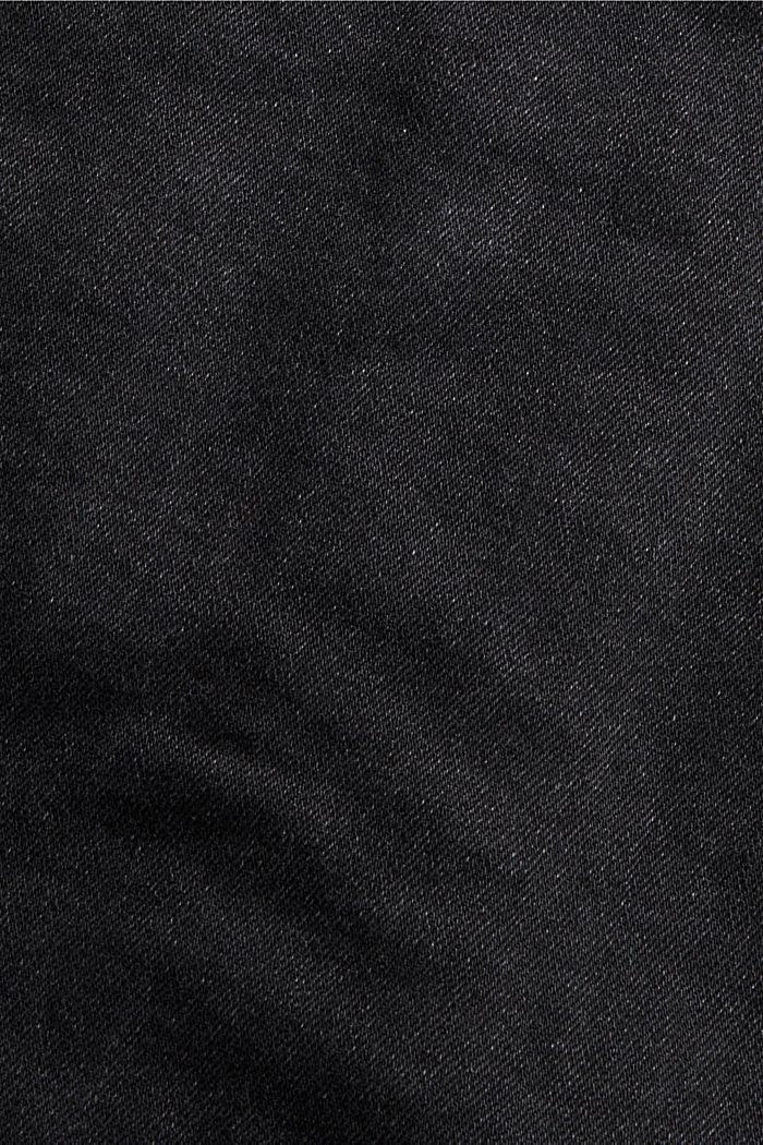 Cazadora vaquera de algodón ecológico elástico con efecto desgastado, BLACK DARK WASHED, detail image number 4