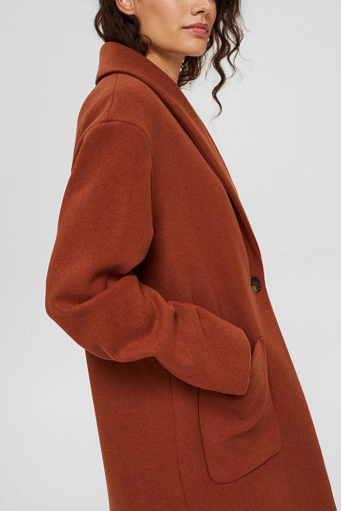 Recycelt: Woll-Mix Mantel mit Schalkragen, CINNAMON, detail image number 2
